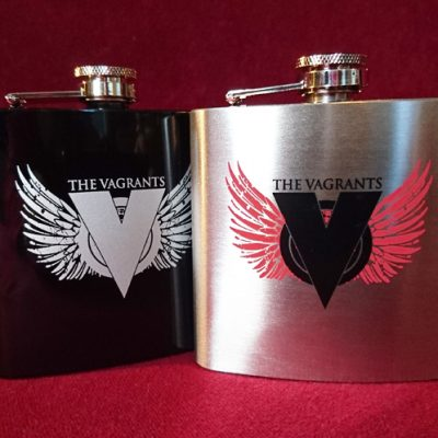 The Vagrants Black and Silver hip flasks